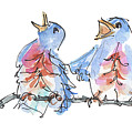 Bluebirds Singing A New Song Bd002 by Kathleen McElwaine