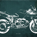 Blueprint For Men Office Decoration. R1100s Green Background by Drawspots Illustrations