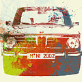 Bmw 2002 Front Watercolor 2 by Naxart Studio