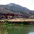 Bnsf Train Along The Wind River by George Jones