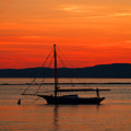 Boat At Champlain Sun-set by Pradeep Bangalore