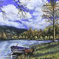 Boat By The Lake by Shuanteya Sherman