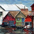 Boat Houses On The Lake by Don Seib