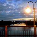 Boat Lights Sunset On Lady Bird Lake by Felipe Adan Lerma