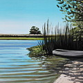 Boat On The Shadowed Beach by Elizabeth Robinette Tyndall