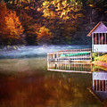 Boathouse In Autumn Oil Painting by Debra and Dave Vanderlaan