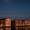 Boathouse Reflections With Moonset by Jim Corwin