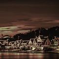 Boathouse Row Philadelphia Pa Night Retro by Terry DeLuco