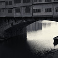 Boatmen And Ponte Vecchio, Florence, Italy by Richard Goodrich