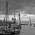 Boats And Shard And Tower Bridge Bw by Gary Eason