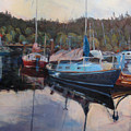 Boats At Dock Heriot Bay Inn by Nanci Cook