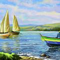 Boats At Lake Victoria by Anthony Mwangi