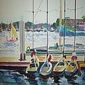 Boats At Marina Del Rey by Bernadette Tibazi
