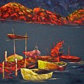 Boats At Nightfall by Rhonda Myers