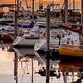 Boats At Sunset by Mechala Matthews