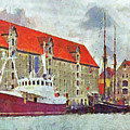 Boats Docked In Copenhagen by Digital Photographic Arts