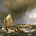 Boats In A Storm  by Ludolf Bakhuizen