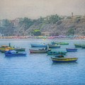 Boats In Blue Twilight - Lima, Peru by Mary Machare