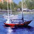 boats in Brisbane river by Andriane Georgiou