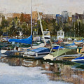 Boats In Montrose Harbor by Nancy Albrecht