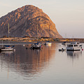 Boats In Morro Rock Reflection by Sharon Foelz