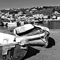 Boats In The Mykonos Old Port Mono by John Rizzuto