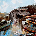 Boats In The Slough by Ron  Morrison
