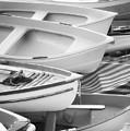 Boats Of Riomaggiore Cinque Terre Bw by Joan Carroll