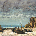 Boats On A Beach, Etretat by Gustave Courbet