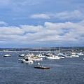 Boats On Blue Water by John G Erlandson