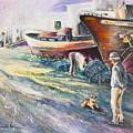 Boats Yard In Villajoyosa Spain by Miki De Goodaboom
