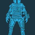 Boba Fett - Star Wars Art, Blue by Studio Grafiikka