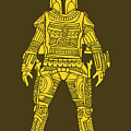 Boba Fett - Star Wars Art, Yellow by Studio Grafiikka