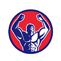 Body Builder Flexing Muscles Circle Retro by Aloysius Patrimonio