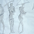Body Sketches With Umbrella by M Valeriano