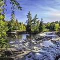 Bog River Falls Panorama Abstract 01 by Jim Dollar