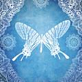 Bohemian Ornamental Butterfly Deep Blue Ombre Illustration by Sharon Mau