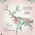 Boho Deer Silhouette Rose Floral Little Girl Big Dreams by Audrey Jeanne Roberts