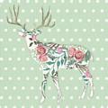 Boho Deer Silhouette Rose Floral Polka Dot Sage Green by Audrey Jeanne Roberts