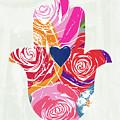 Bold Floral Hamsa- Art By Linda Woods by Linda Woods