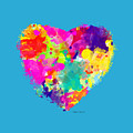 Bold Watercolor Heart - Tee Shirt Design by Debbie Portwood