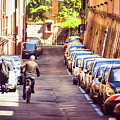 Bologna  Bald Man Cross Street With Bicycle Parked Row Cars by Luca Lorenzelli