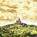 Bologna San Luca Sanctuary Dramatic Yellow Sky by Luca Lorenzelli