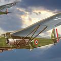 Bombers Farman 222 In Fighting Evening Flight. by Alex Arkhipau