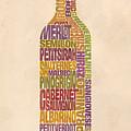 Bordeaux Wine Word Bottle by Mitch Frey