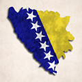 Bosnia And Herzegovina Map Art With Flag Design by World Art Prints And Designs