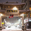 Boston Chinatown Gate During Snowsstorm Skylar Boston Ma by Toby McGuire