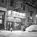 Boston Chinatown Snowstorm Tyler St Black And White by Toby McGuire