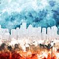 Boston City Skyline Watercolor 2 by Bekim Art