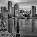Boston Habor Sunrise Bw by Susan Candelario